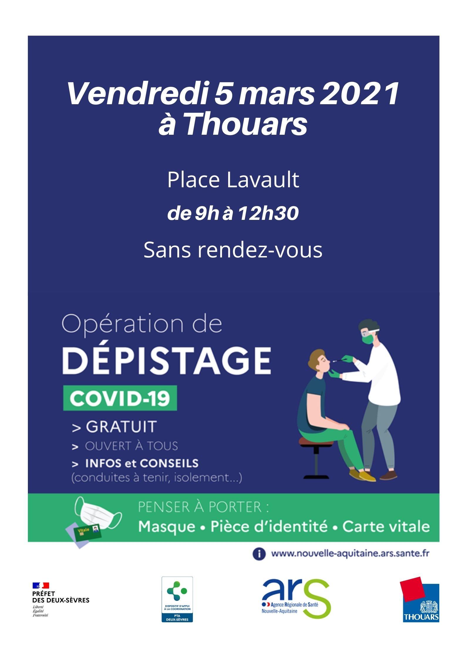 Opération de dépistage COVID-19 gratuit à Thouars