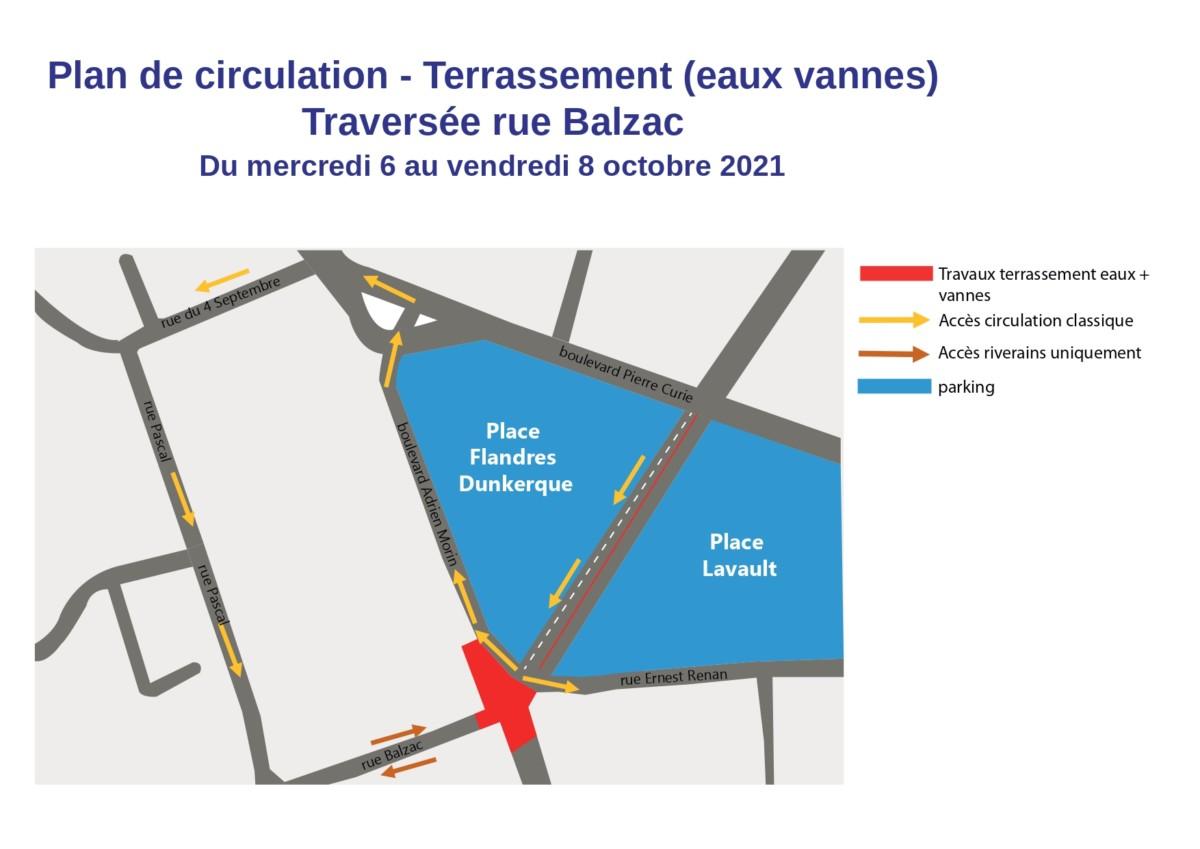 Travaux de terrassement au carrefour Adrien Morin / Ernest Renan